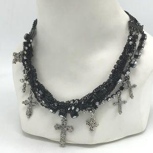 Material Girl Black Punk Chain Rhinestone Necklace